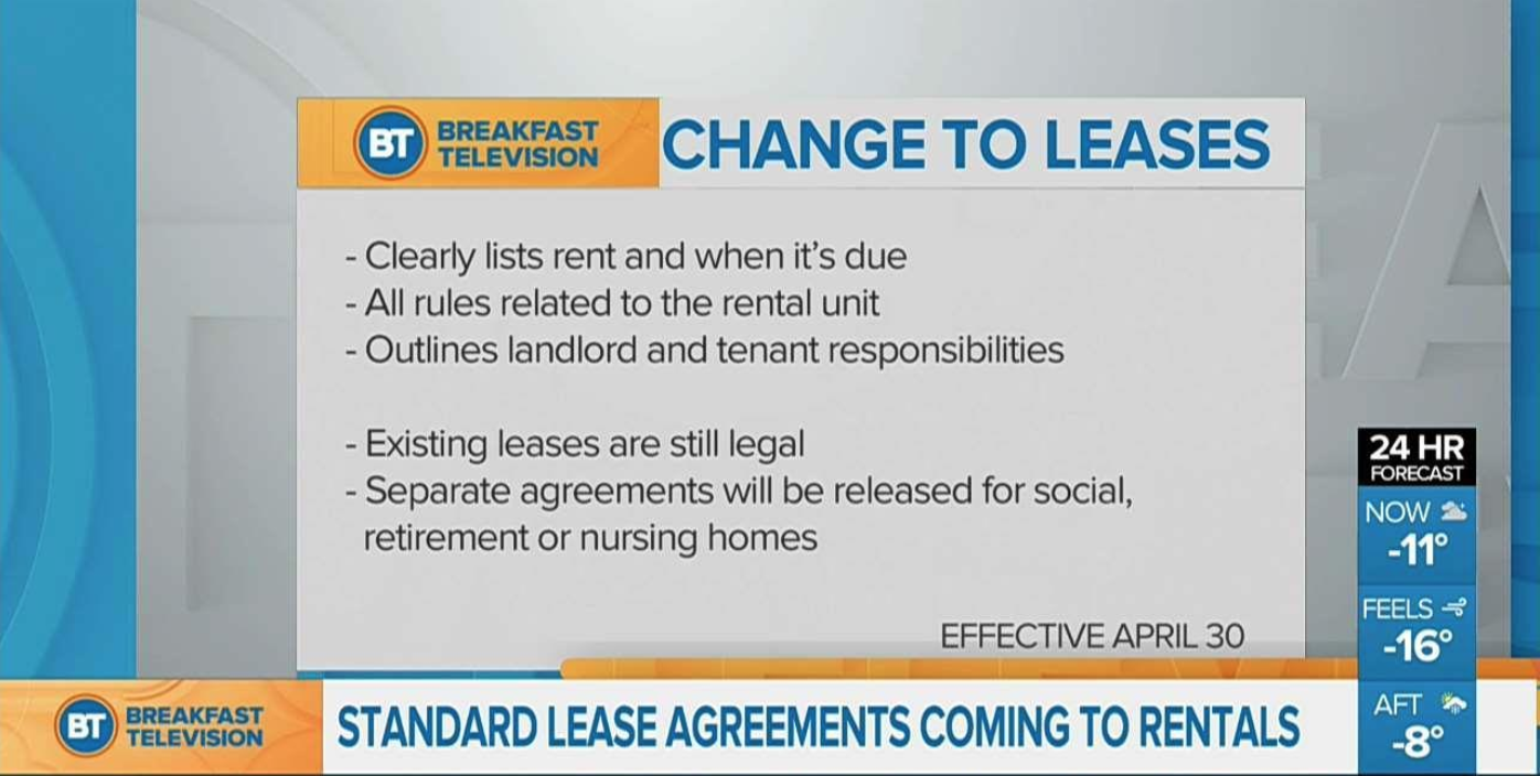 Province Releases Mandatory Lease Form.  Implementation Date: On and After April 30, 2018