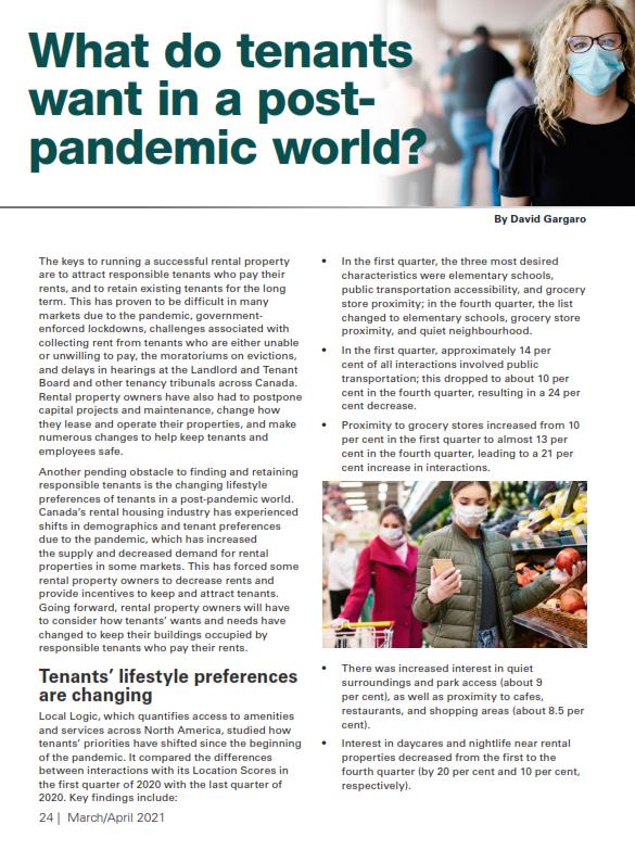 Tenants Post-Pandemic Wants