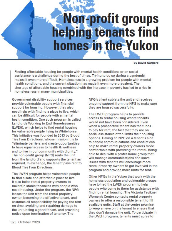Non-Profit Groups Helping Tenants in Yukon
