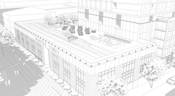 A plaza is planned for the roof of the former Seattle Times office building at Fairview Avenue North and John Street.
