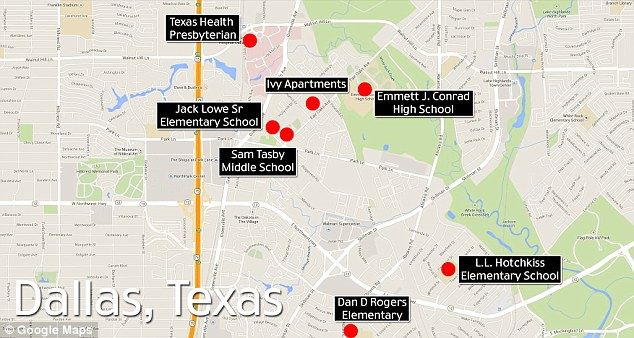 A map of North Dallas in Texas reveals the proximity of where Mr Duncan was staying in relation to the hospital and schools as officials said the Ebola patient may have come in contact with up to 100 people.