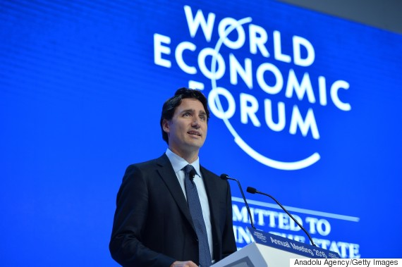 DAVOS, SWITZERLAND - JANUARY 20: Canadian Prime Minister Justin Trudeau delivers a speech during the World Economic Forum, in Davos, Switzerland, on January 20, 2016. (Photo by Dursun Aydemir/Anadolu Agency/Getty Images)