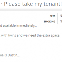 LANDLORD POSTS AD ON USED VICTORIA BEGGING SOMEONE TO 'TAKE' HIS TENANT